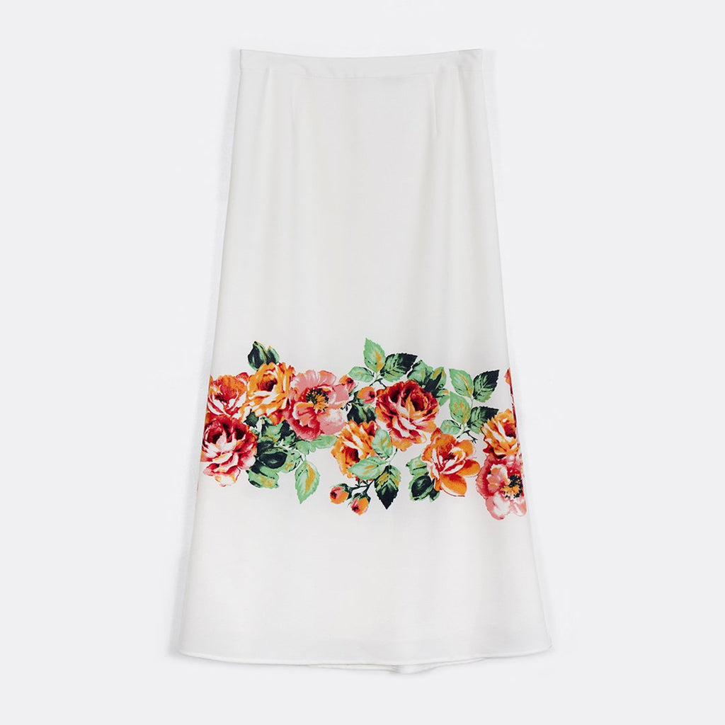 Fit And Flare Border Skirt