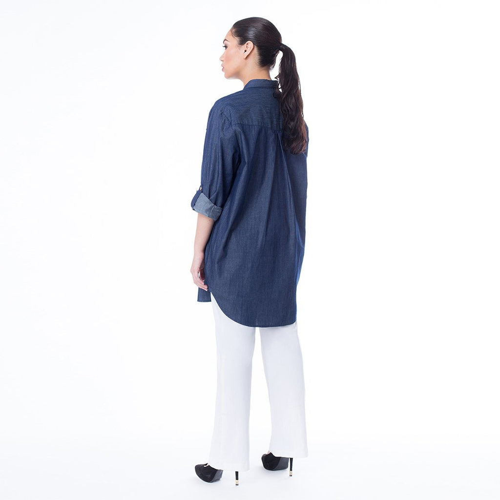 Chambray Collared Tunic