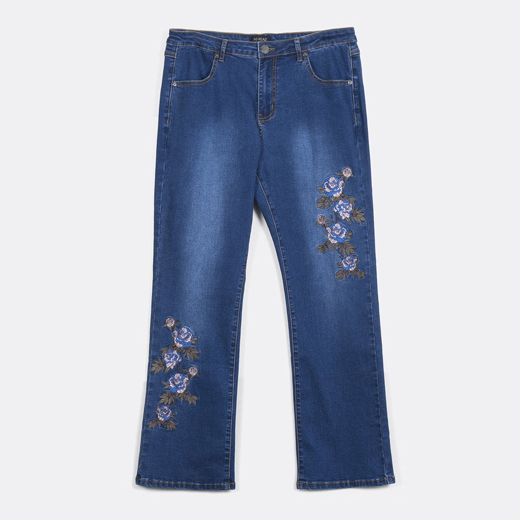 Semi-Boot Cut Embroidery Jeans