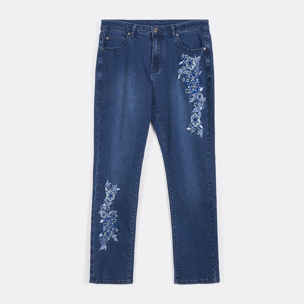 Embroidered Slim Cut Jeans