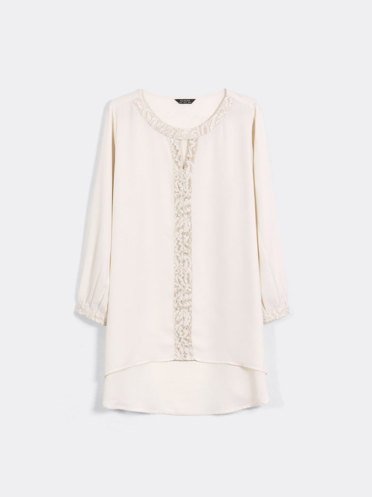 HIGH-LOW HEM TRIMMED PEASANT TOP