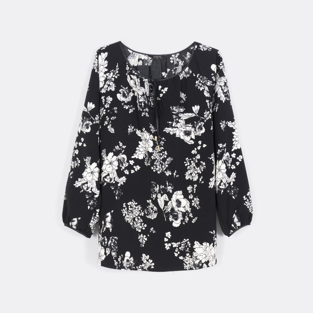 Monochrome Floral Top