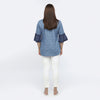 Printed Chambray Top