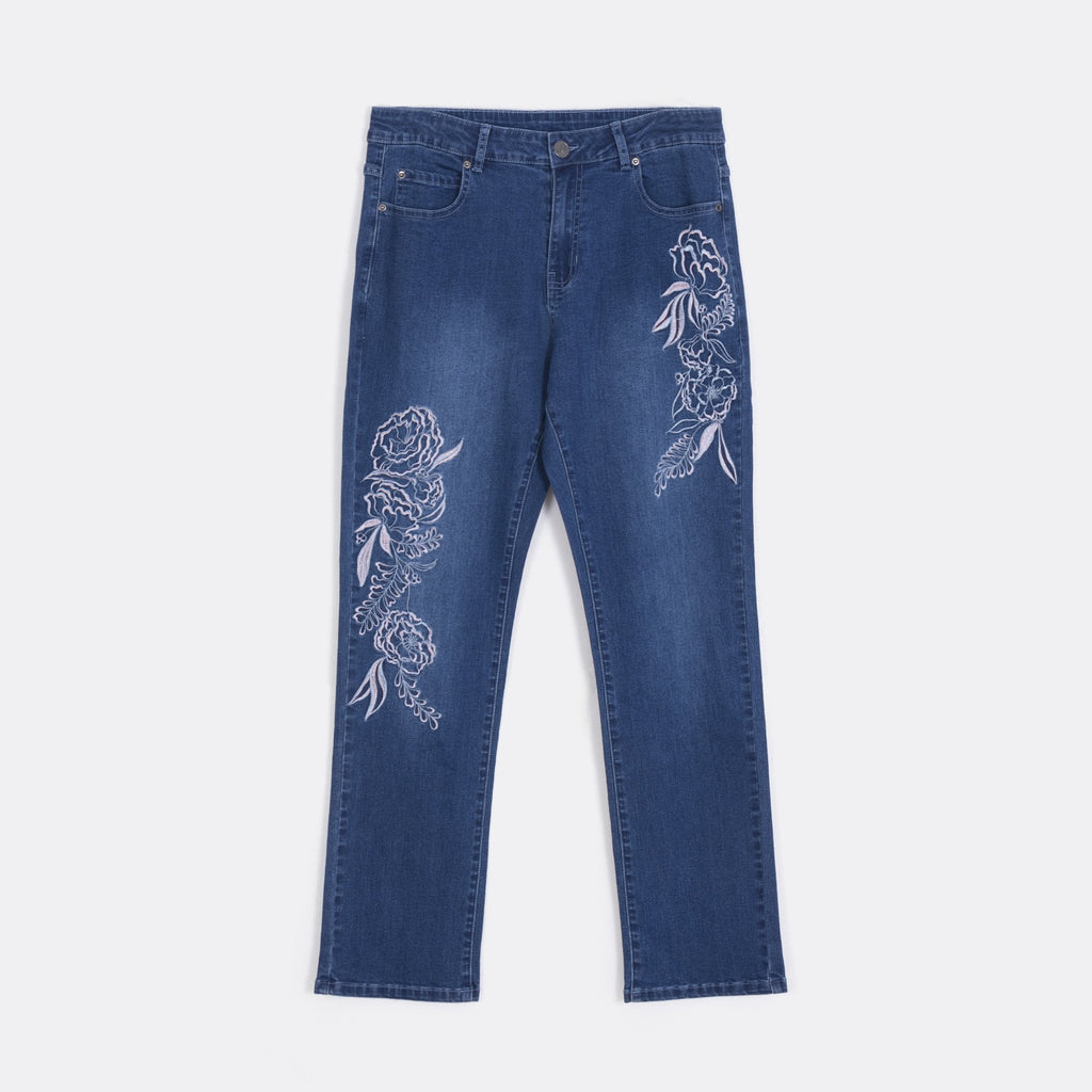 Embroidery Straight Cut Jeans