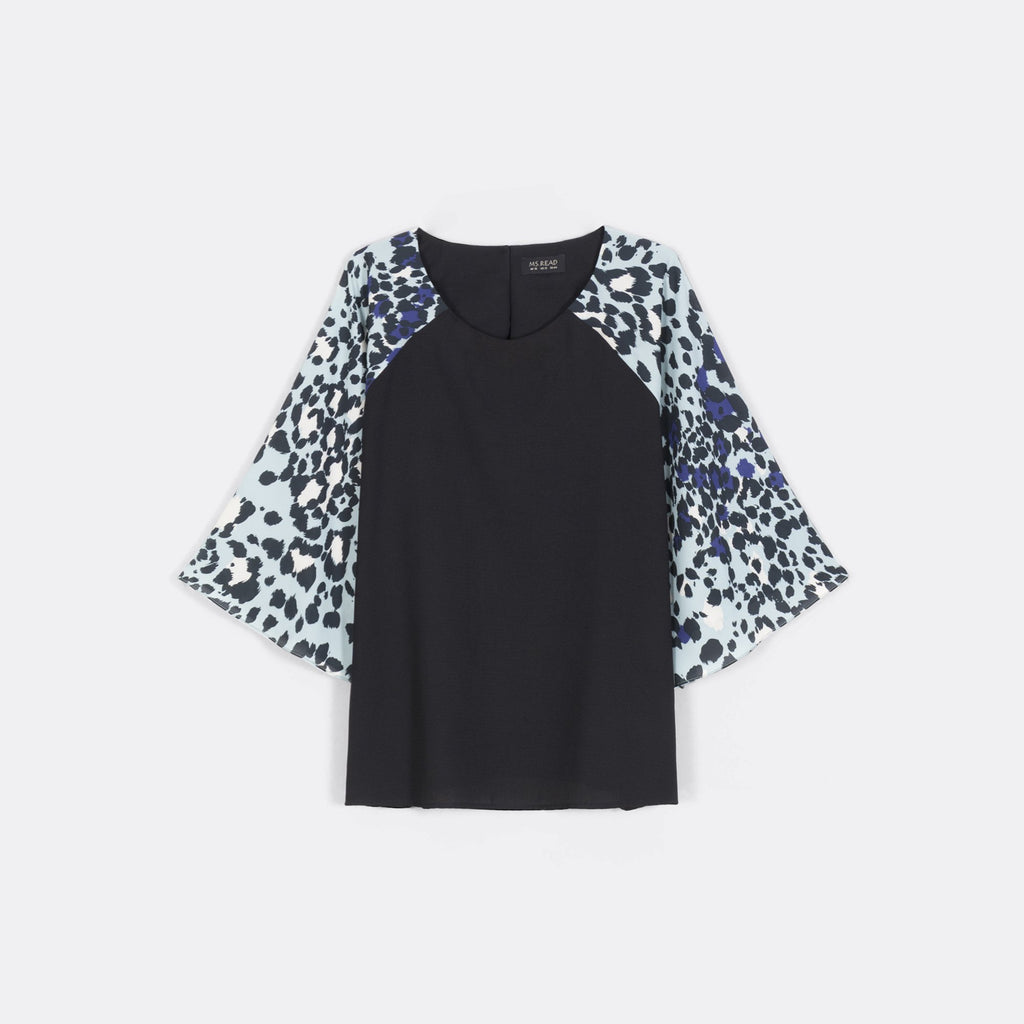 Printed Sleeve Block Top