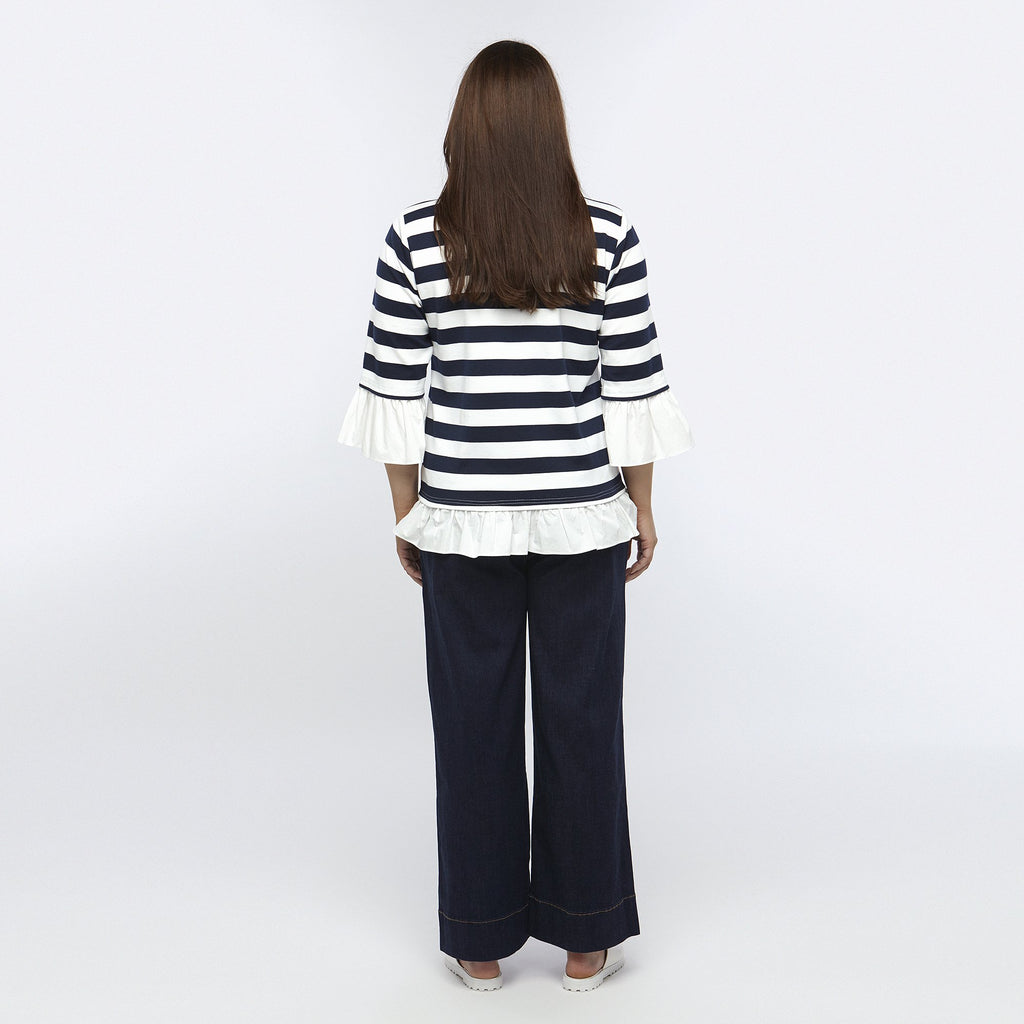 Stripe Frilled Top