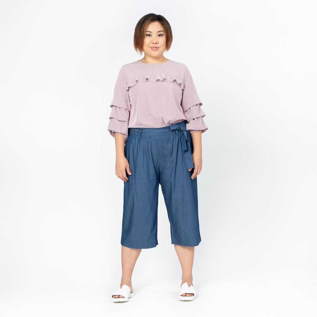 Sash Detailed Denim Culottes