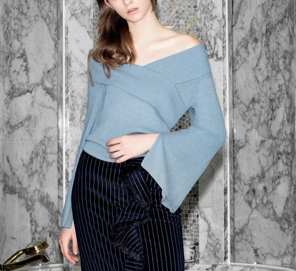 Lounge Ready Flared Sleeve Top in Blue