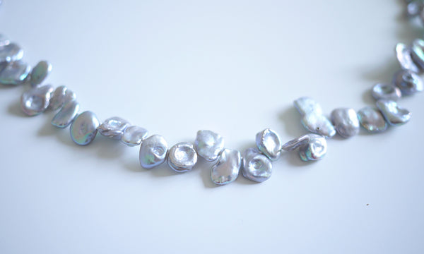 Silver Blue Irregular Shaped Pearls Necklace