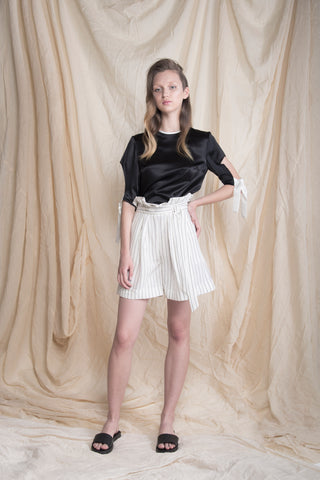 Black and White silk satin blouse with cut on the sleeves