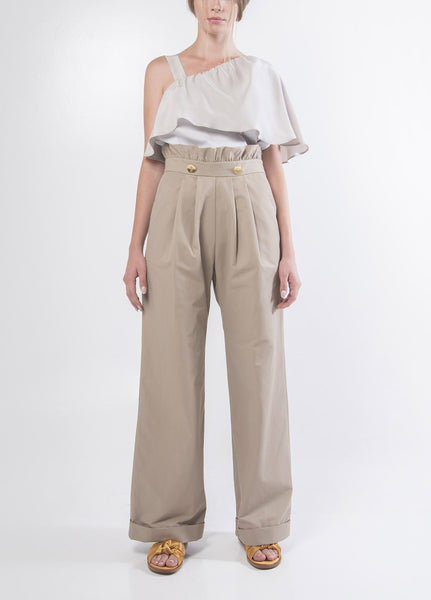 Cotton Trousers with Pleats