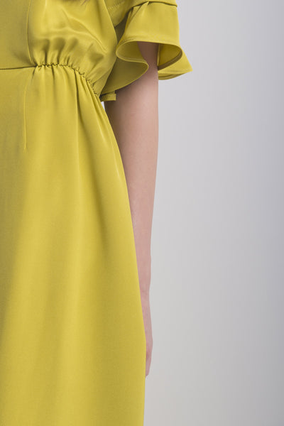Silk Midi Dress with Sleeve Details