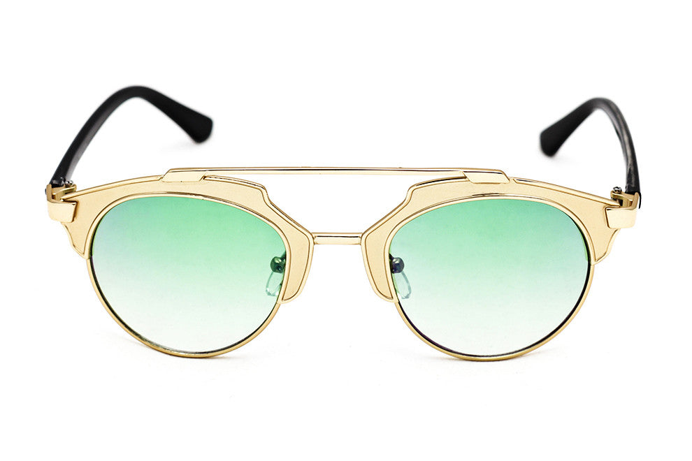 Lunar Celeb' Black Gold Green - Grey Sunglasses - 1