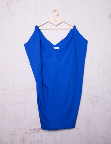 Blue V-Neck Dress | mono.gramm - DAMAGE Playground