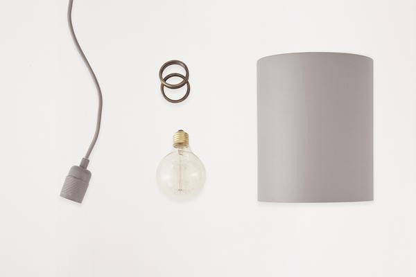 Cylinder Lamp Shade Grey incl. E27 Pendant | FRAMA COLLECTION