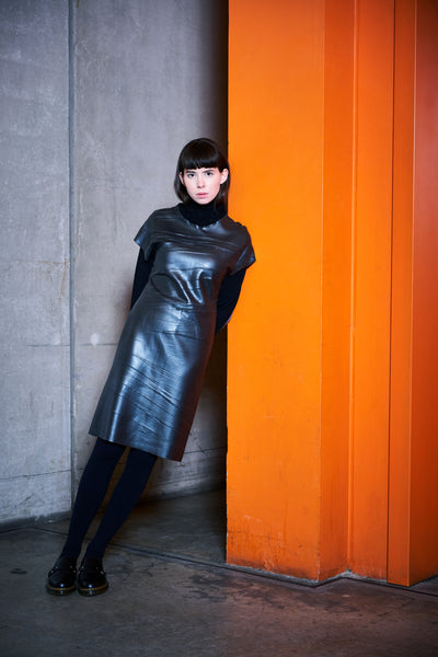 HELLEN VAN REES | Creased Silicone Turtleneck Dress