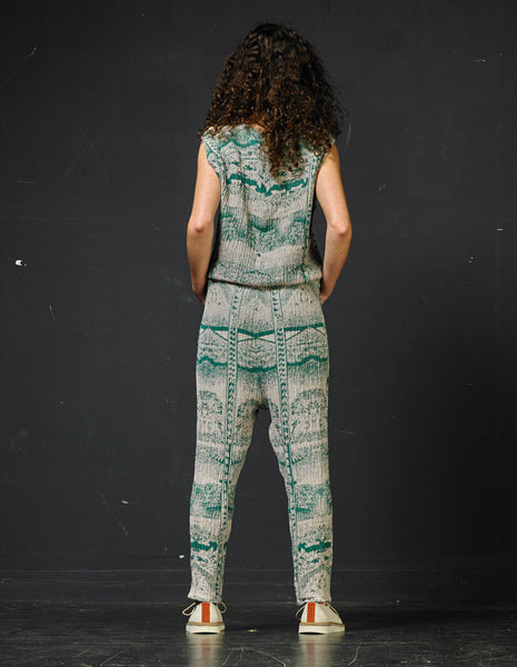 ANNTIAN Weave Green/Sand Linen Jumpsuit | CUSTOMER ARCHIVE - DAMAGE Playground