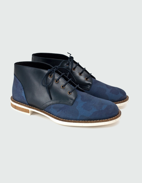 Chaplin 10 navy camo oxford shoe | SWEAR LONDON - DAMAGE Playground
