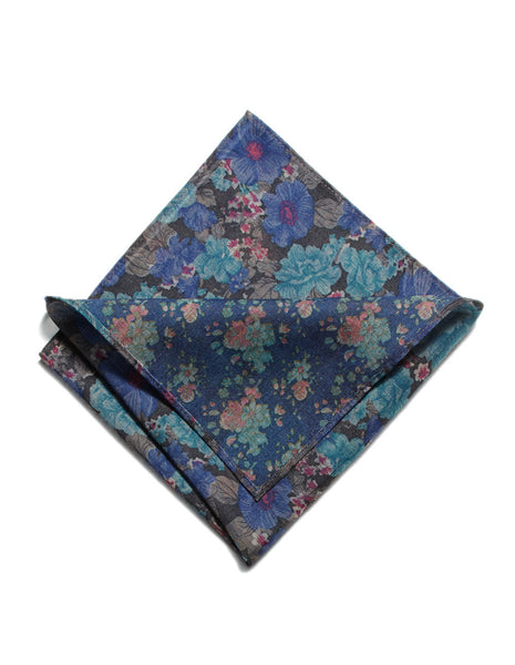 Denim Reversible Floral pocket square | FFD
