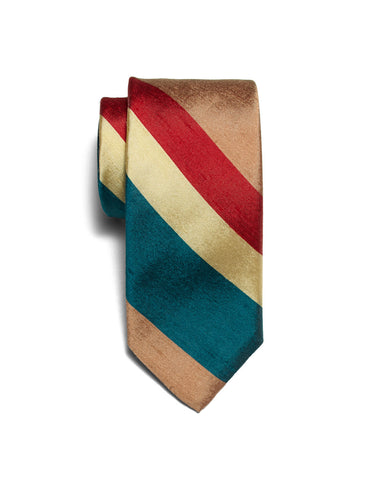 Red Shantung Stripe neck tie | FFD