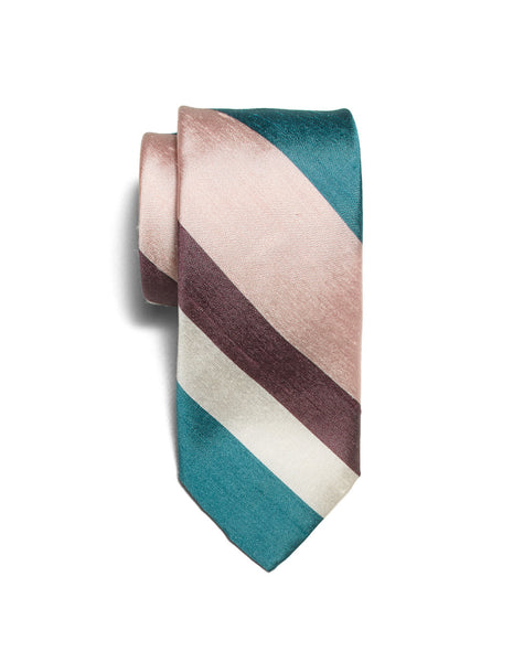 Teal Shantung Stripe neck tie | FFD