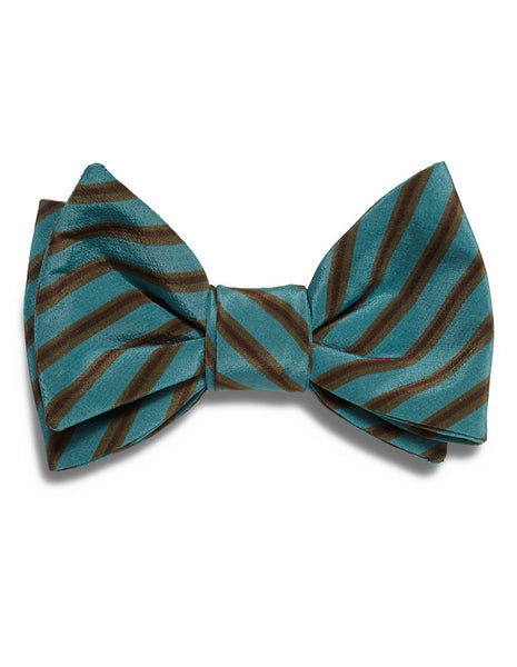 Teal & Cacao Stripe bow tie | FFD