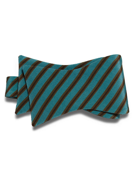 Teal & Cacao Stripe self-tie bow tie | FFD