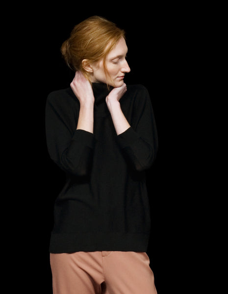 Turtleneck Sweater with Draped Back | mono.gramm