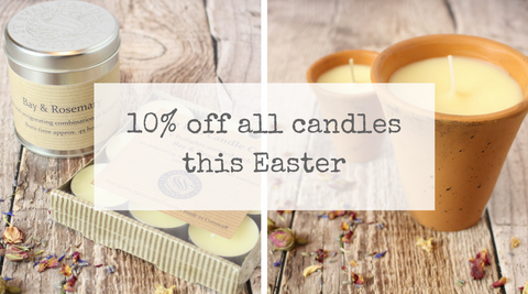 10% off all candles only at Tiddler & Fox