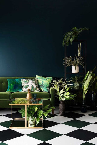 Interiors Trends for 2017, gold green and blue with lots of plants