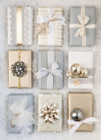 Grey and Gold Christmas Gift Wrapping