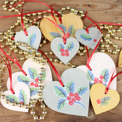 Tiddler and Fox hand made wooden heart Christmas decorations