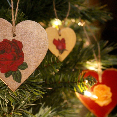 Tiddler & Fox hand painted heart Christmas decorations