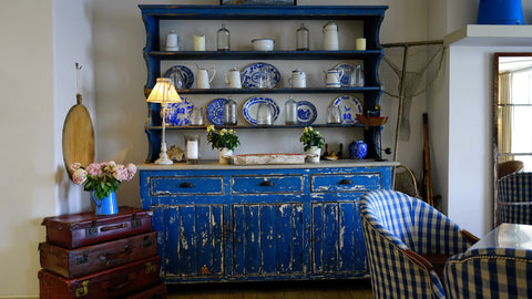 Blue welsh dresser, country cottage kitchen