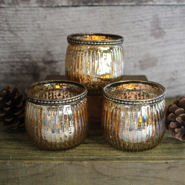 Glass Tealight Holder, Gold Glass T-Light Holder
