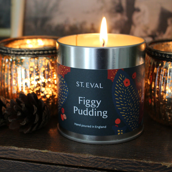 Christmas Scented Figgy Pudding Candle Tin