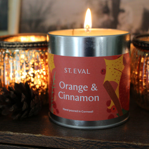 Christmas Scented Orange & Cinnamon Candle Tins
