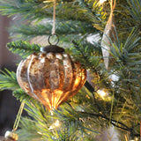 Large Antique Style Gold Glass Bauble