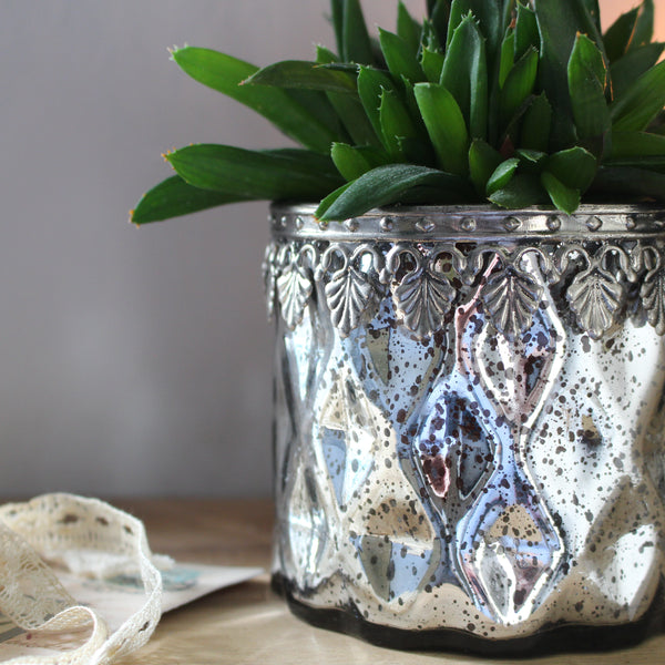 Silvered Glass T-Light Holder, Mercury Glass Tealight Holder