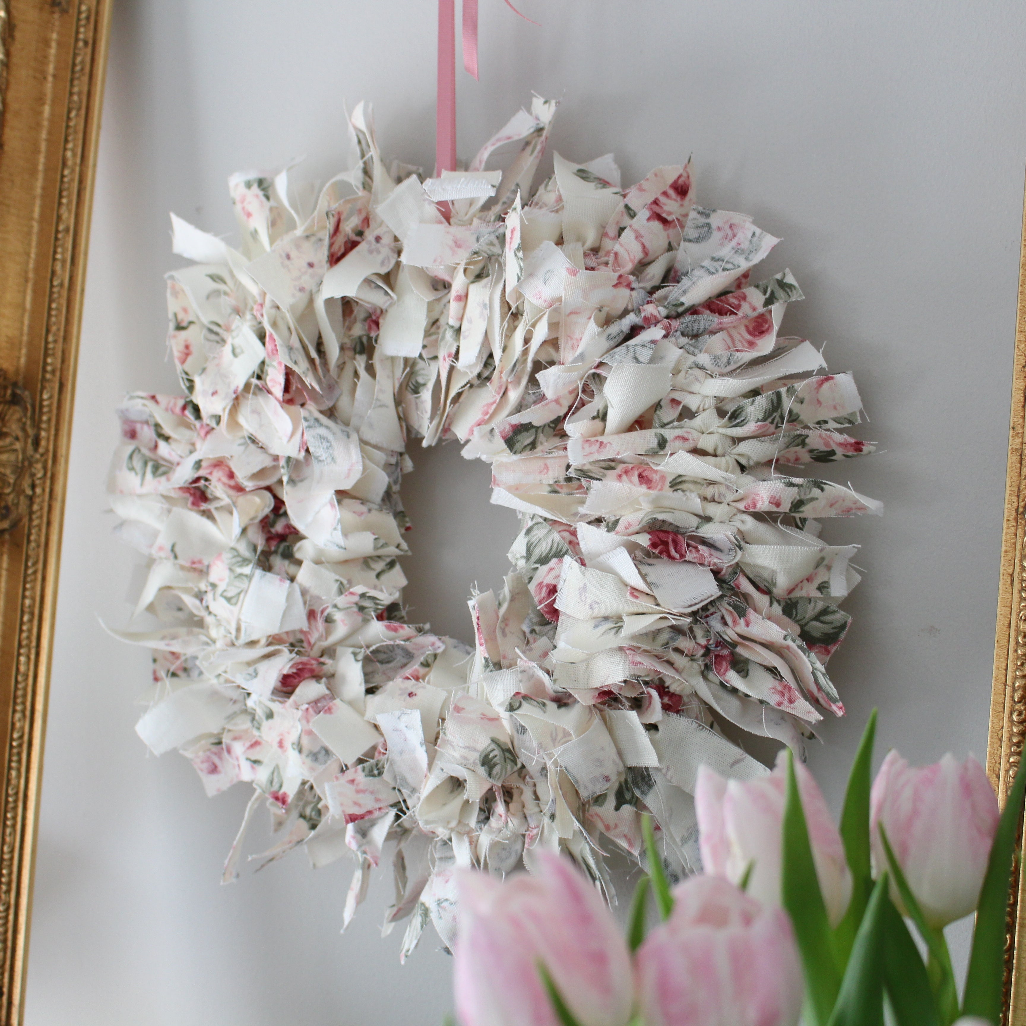 Spring Wreath, Handmade Fabric Wreath