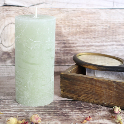 Tall Rustic Pillar Candle, Pink or Green