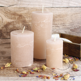 Medium Rustic Pillar Candle, Pink or Green