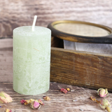 Small Rustic Pillar Candle, Pink or Green
