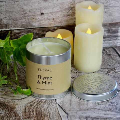 St Eval Candle Co - Scented Candle Tin - Thyme and Mint