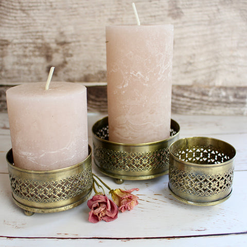 Set of Three Brass Candle Trays