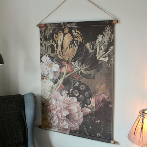 Pretty Floral Canvas Wall Hanging