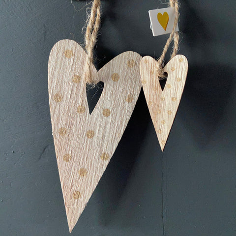 Two Pretty Wooden Heart Tags