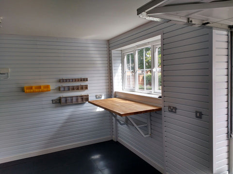 Workbench by a window for DIY Storage Corner Garageflex