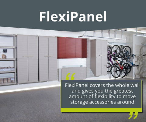 FlexiPanel For Your Garage Wall Lets You Store Items On Your Garage Wall  With Flexibility Garageflex FlexiTrack For Your Garage Wall Storage  Solutions ...