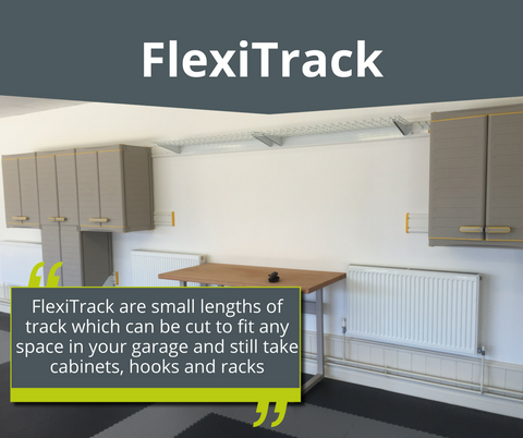 FlexiTrack for your garage wall storage solutions www.diyyourgarage.co.uk